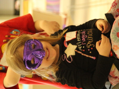 girl in mask with magical princess shirt